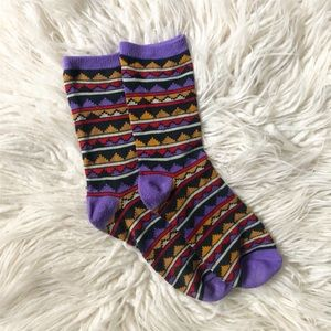 Tribal Geometric Mountain Crew Socks